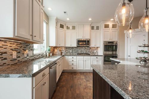 White Concrete Countertops Oak Cabinets